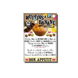 Magnet recette - Muffin banane coeur Nutella