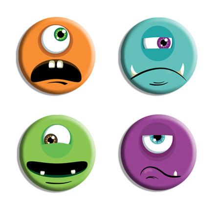 4 têtes de monstres en magnets