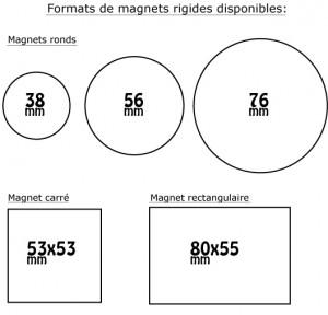 les différents formats de magnets proposés pour la personnalisation
