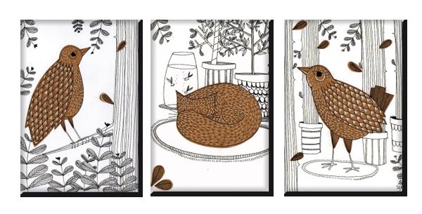 Trio de magnets par l'artiste Anais Schenke