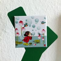 Trois magnets carrés dans la collection Libellulobar