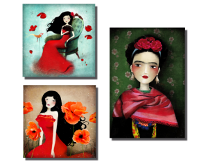 magnet orange poppiers, magnet flamenco dream, magnets frida Kahlo